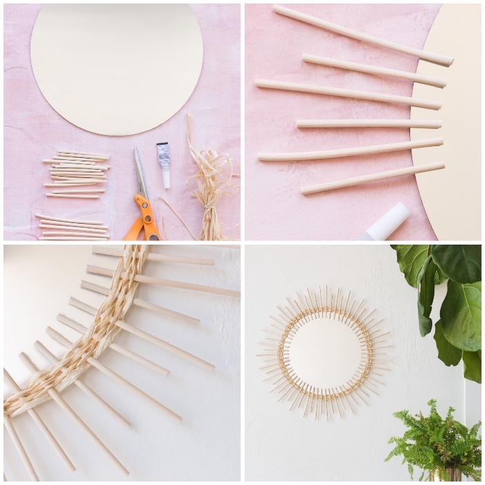 bedroom wall decor ideas, step by step, diy tutorial, round mirror, frame made out of wooden sticks