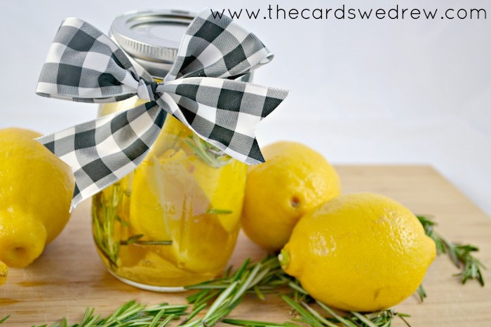 diy tutorial, air freshener, step by step, best housewarming gifts, lemons in water, rosemary inside a mason jar