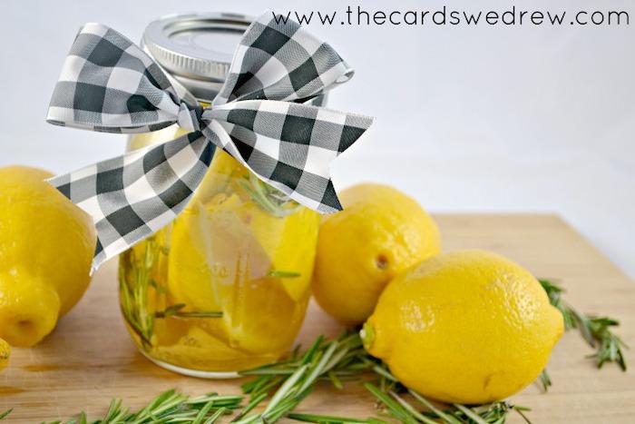 diy tutorial, air freshener, step by step, best housewarming gifts, lemons in water, rosemary inside a mason jar