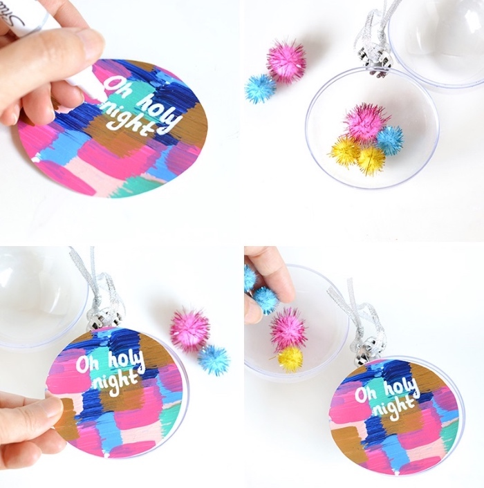 colourful baubles, dining table centerpieces, step by step, diy tutorial, white sharpie, christmas theme