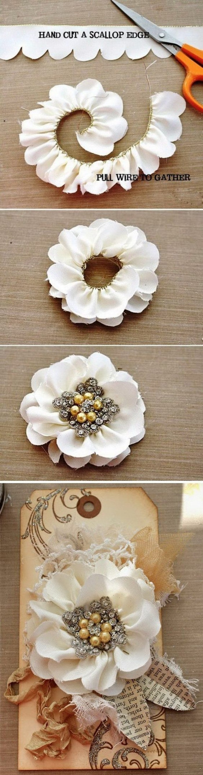 rose made of fabric, white fabric, creative birthday ideas for best friend, step by step, diy tutorial