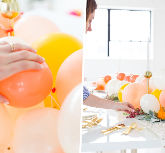 step by step, diy tutorial, centerpiece ideas, yellow orang and white balloons, table runner