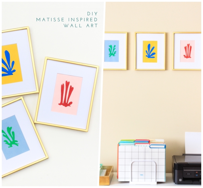 diy matisse inspired wall art, kitchen wall decor ideas, colourful paintings, in golden frames