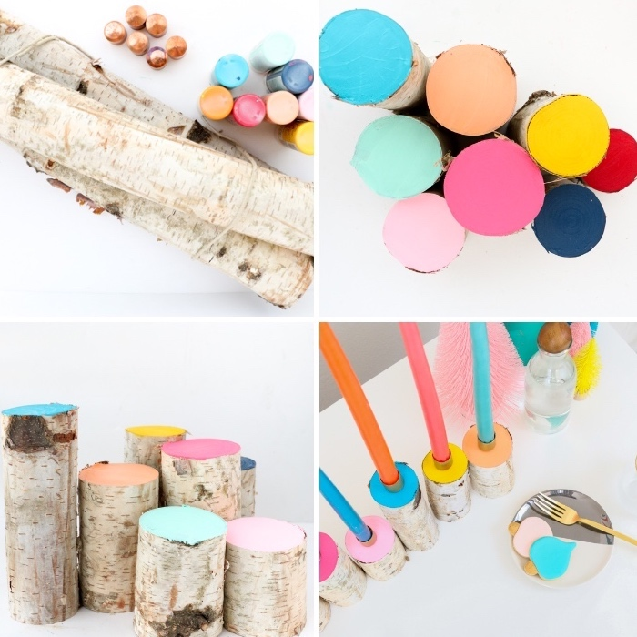 blocks of wood, painted in different colours, centerpiece ideas, colourful candles, step by step, diy tutorial