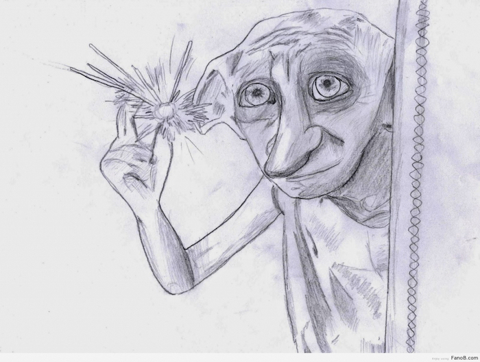 dobby the house elf, easy drawing tutorials, harry potter inspired, black and white, pencil sketch