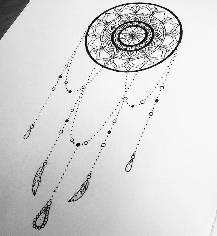 dreamcatcher drawing, black white sketch, white background, mandala tattoo
