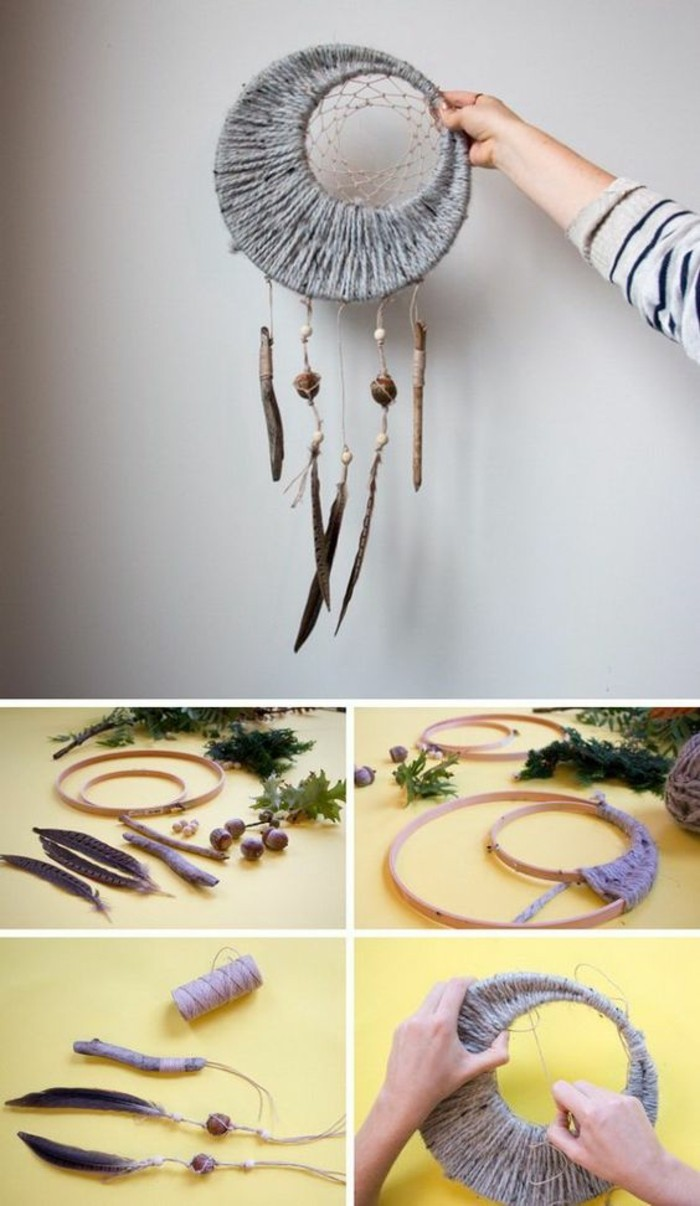 grey dreamcatcher, step by step, diy tutorial, creative birthday ideas for best friend, wooden rings