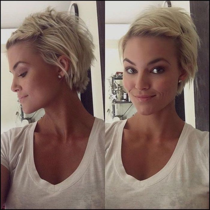 blonde hair, short pixie cuts, white top, side by side photos