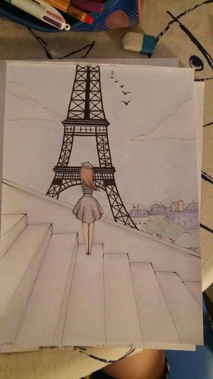 girl standing on stairs, looking at the eiffel tower, cute simple drawings, coloured pencils drawing, cool things to draw for beginners
