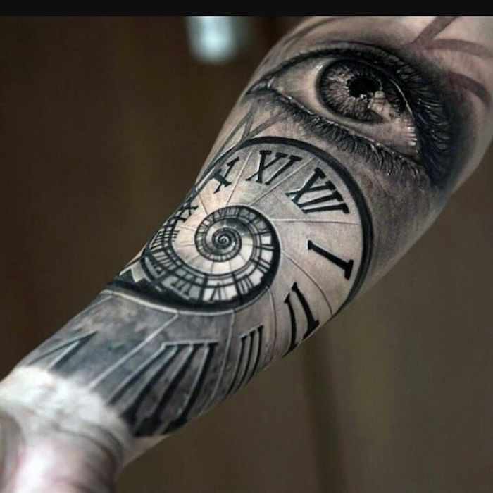clock and an eye, forearm tattoo, roman numeral tattoo ideas