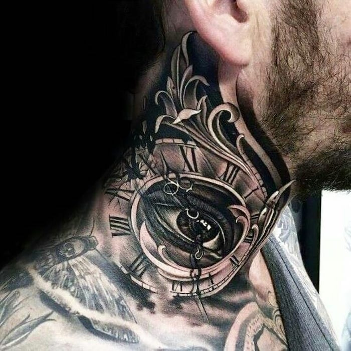 neck tattoo, eye and a clock, roman numeral tattoos meaning, black background