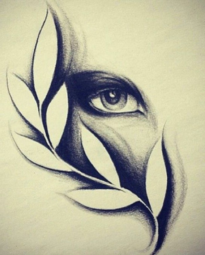 eye and a leaf, black and white, pencil sketch, how to draw lips
