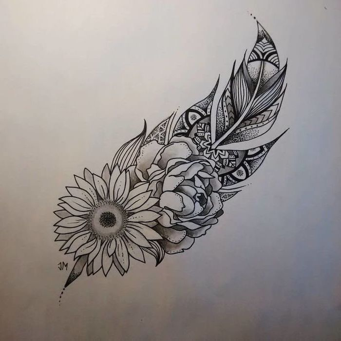 feather and sunflower, rose drawing, black and white sketch, white background, lotus mandala tattoo