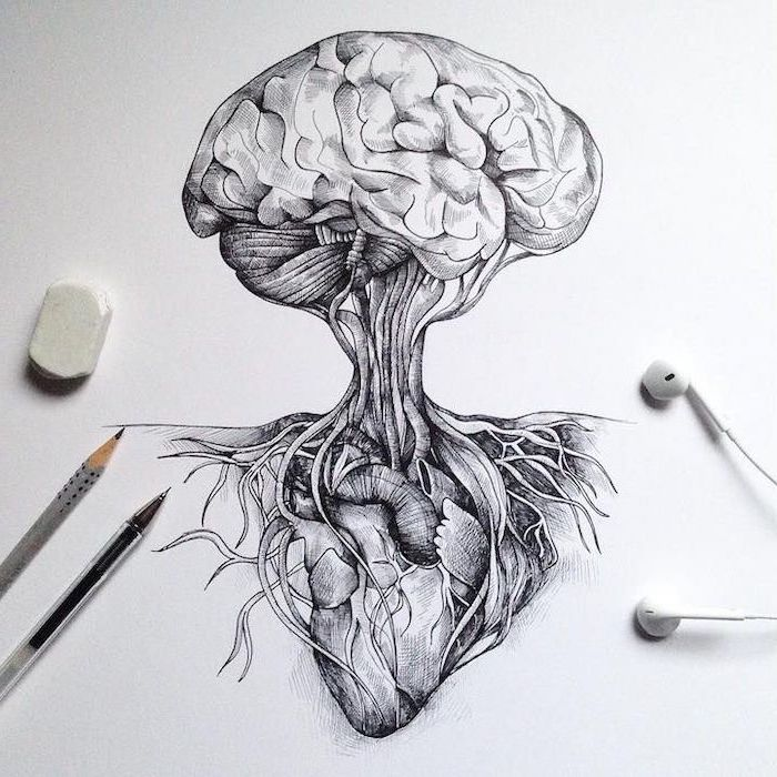 fight between the heart and the brain, easy things to draw step by step, black and white, pencil sketch