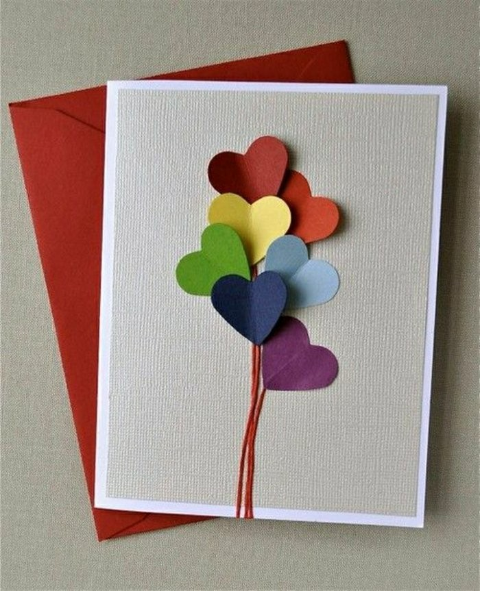 red envelope, how to make a birthday card, colourful hearts, red string, grey card stock