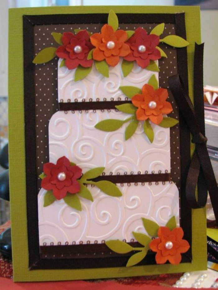 brown and green card stock, white cake card stock, paper flowers, how to make a birthday card, green leaves