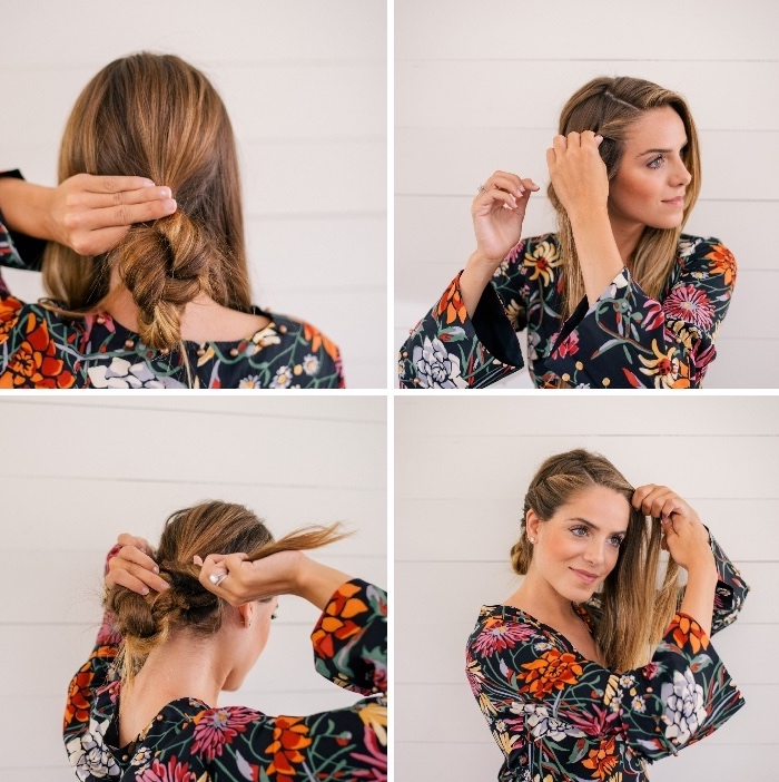 floral dress, long haircuts for women, step by step, diy tutorial, braided bun, light blonde hair