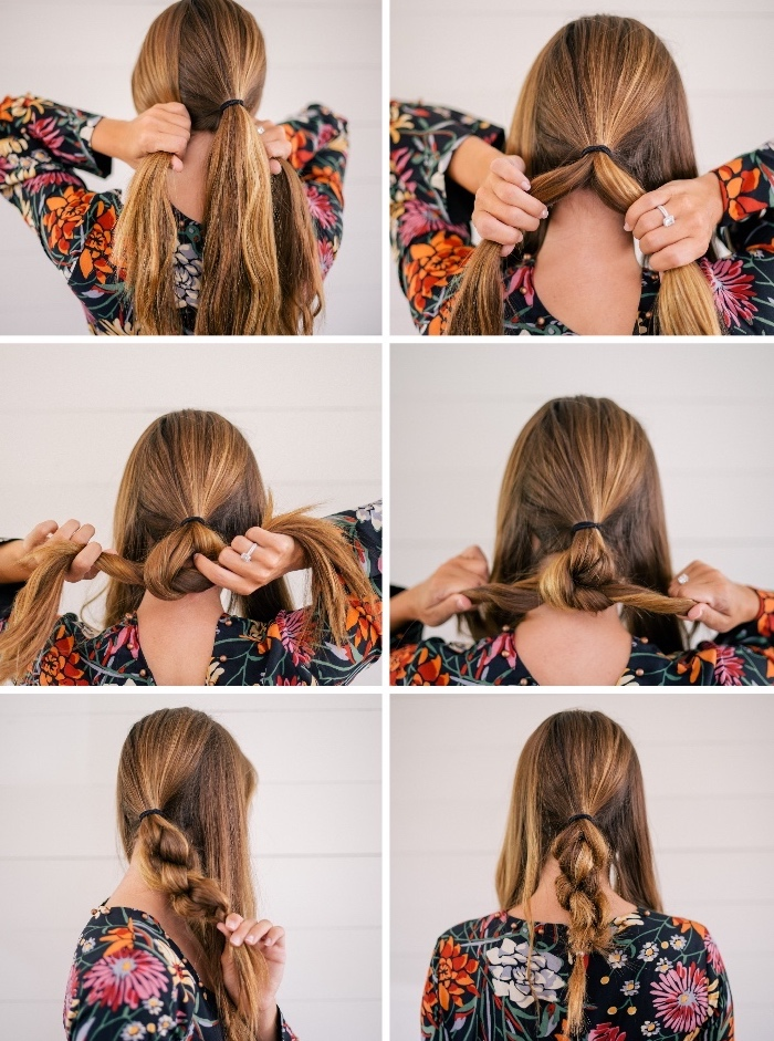 step by step, diy tutorial, floral dress, braided bun, low updo, long light blonde hair, long haircuts for women