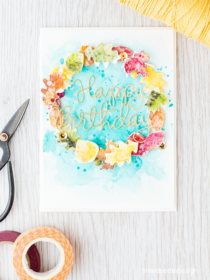 happy birthday, watercolour floral wreath around, diy pop up cards, white wooden table
