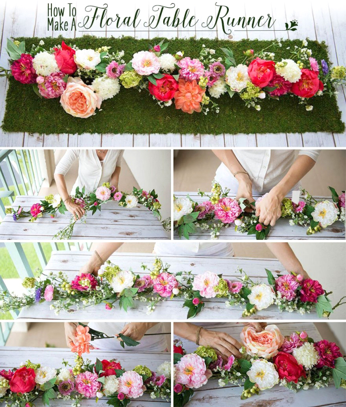 floral table runner, step by step, diy tutorial, fall flower arrangements, side by side photos, wooden table