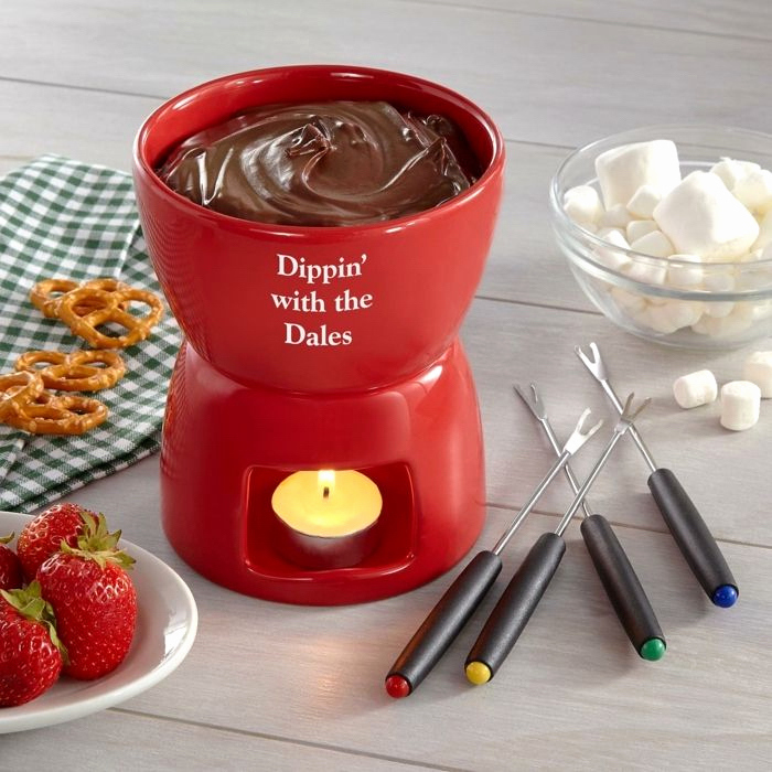 fondue station, personalized housewarming gifts, marshmallows in a bowl, pretzels and strawberries