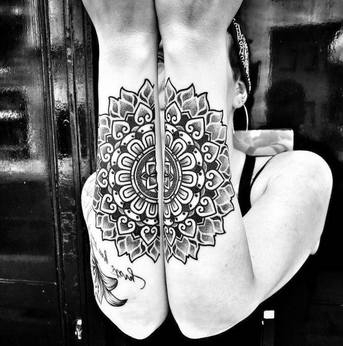 forearm tattoos, on both hands, black and white photo, mandala symbols