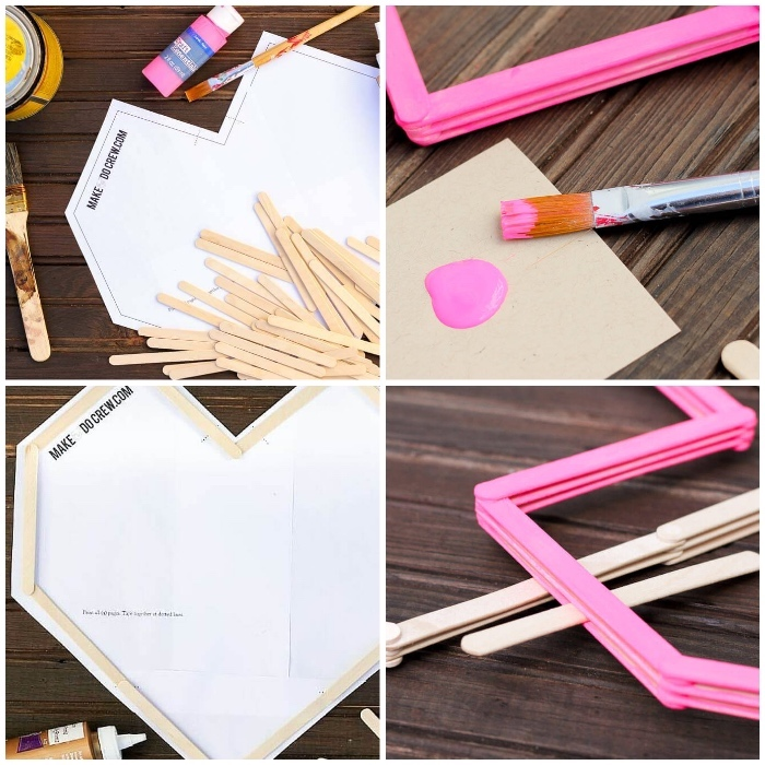 canvas art ideas, step by step, diy tutorial, pink paint, wooden sticks, forming a heart, on a wooden table