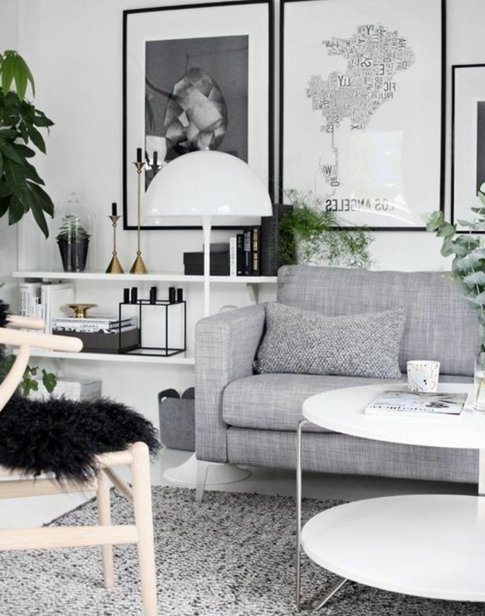 what colors match with grey, wooden chair, black furry blanket, grey sofa, framed hanging art