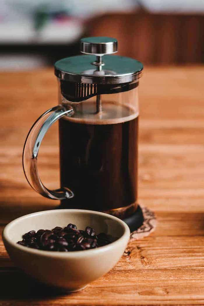 french press, coffee maker, personalized housewarming gifts, coffee beans in a bowl