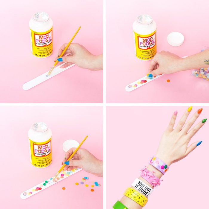 friendship bracelets, mod podge, colourful confetti, unique birthday gifts for him, step by step, diy tutorial