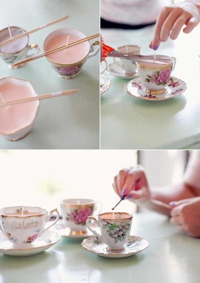 vintage teacup candles, traditional housewarming gifts, step by step, diy tutorial