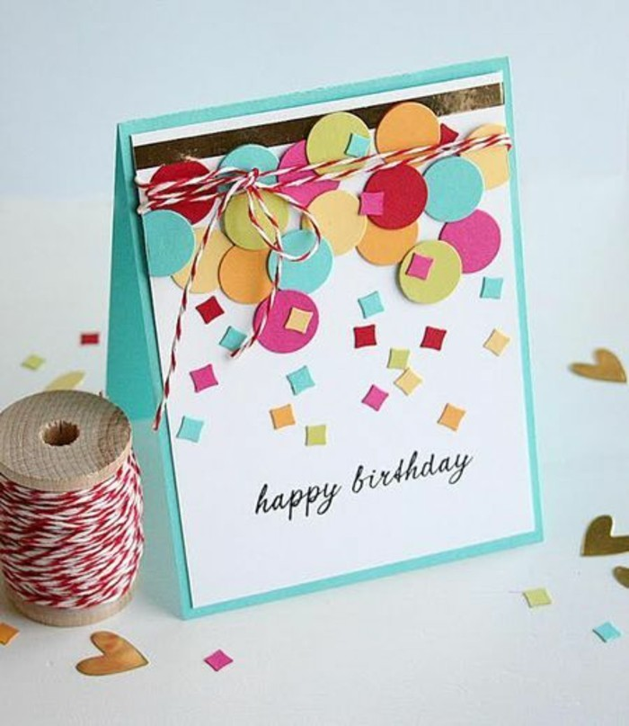 turquoise and white, card stock, birthday card ideas for dad, colourful geometrical shape, red and white strand