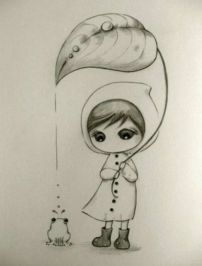 how to draw lips, girl holding a large leaf, over a small frog, black and white, pencil sketch