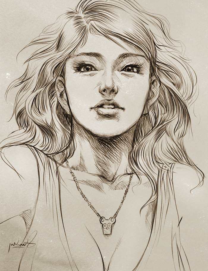 girl with long wavy hair, black and white, pencil sketch, easy things to draw step by step