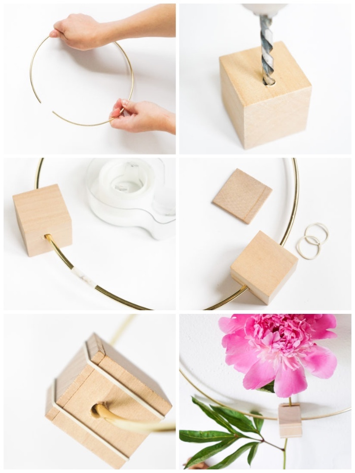 step by step, diy tutorial, metal and wood, flower frame, diy wall decor, side by side pictures