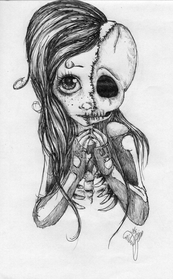 split drawing, half girl, half skull, easy things to draw when your bored, black and white, pencil sketch