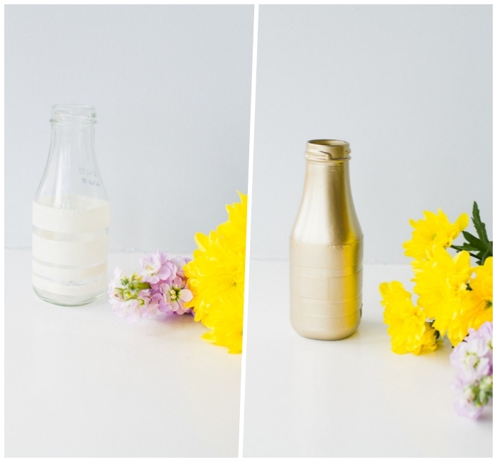 dining room centerpieces, glass bottle, painted in gold, white background, flower bouquets, diy tutorial