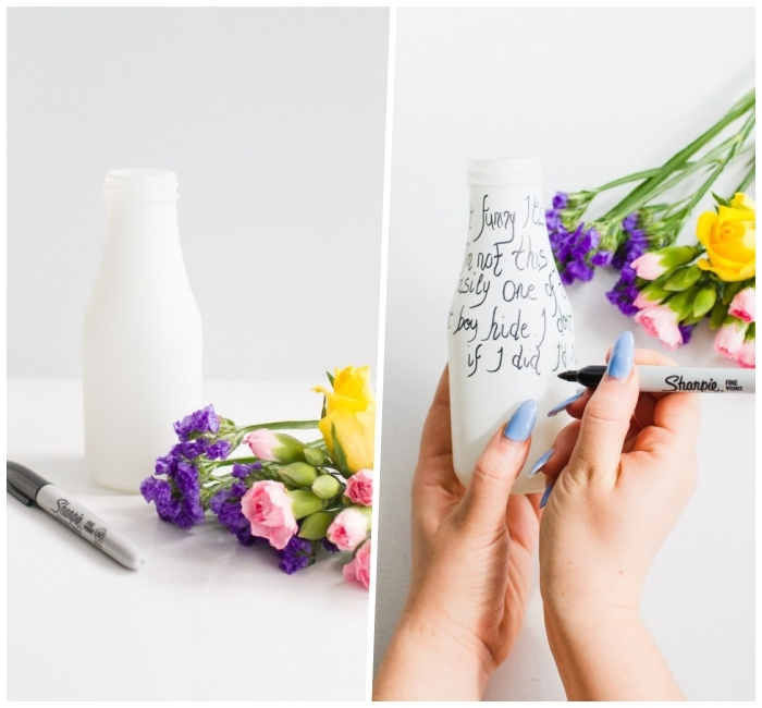 step by step, diy tutorial, glass bottle, painted in white, kitchen table centerpieces, white background