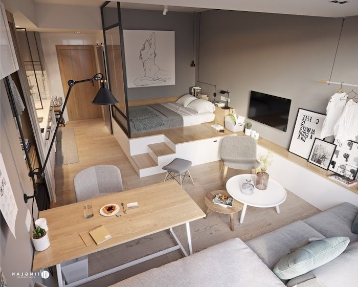 living room furniture for small spaces, glass divider, grey sofa, grey chairs, wooden dining table, grey walls