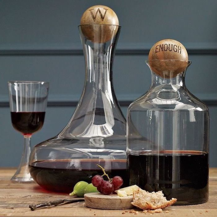 wine pitchers, wooden wine stoppers, personalized housewarming gifts, wine glass, wooden table