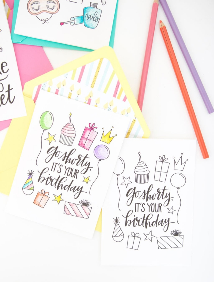 go shorty, it's your birthday, greeting cards, yellow envelope, handmade cards, colourful pencils