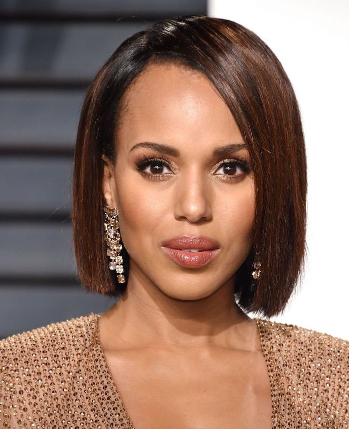 gold sequinned dress, kerry washington, brown hair, long earrings easy hairstyles for short hair
