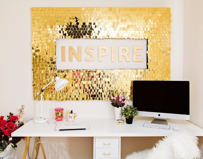 golden sequinned frame, inspire quote, diy canvas art, hanging over a white desk, on a white wall