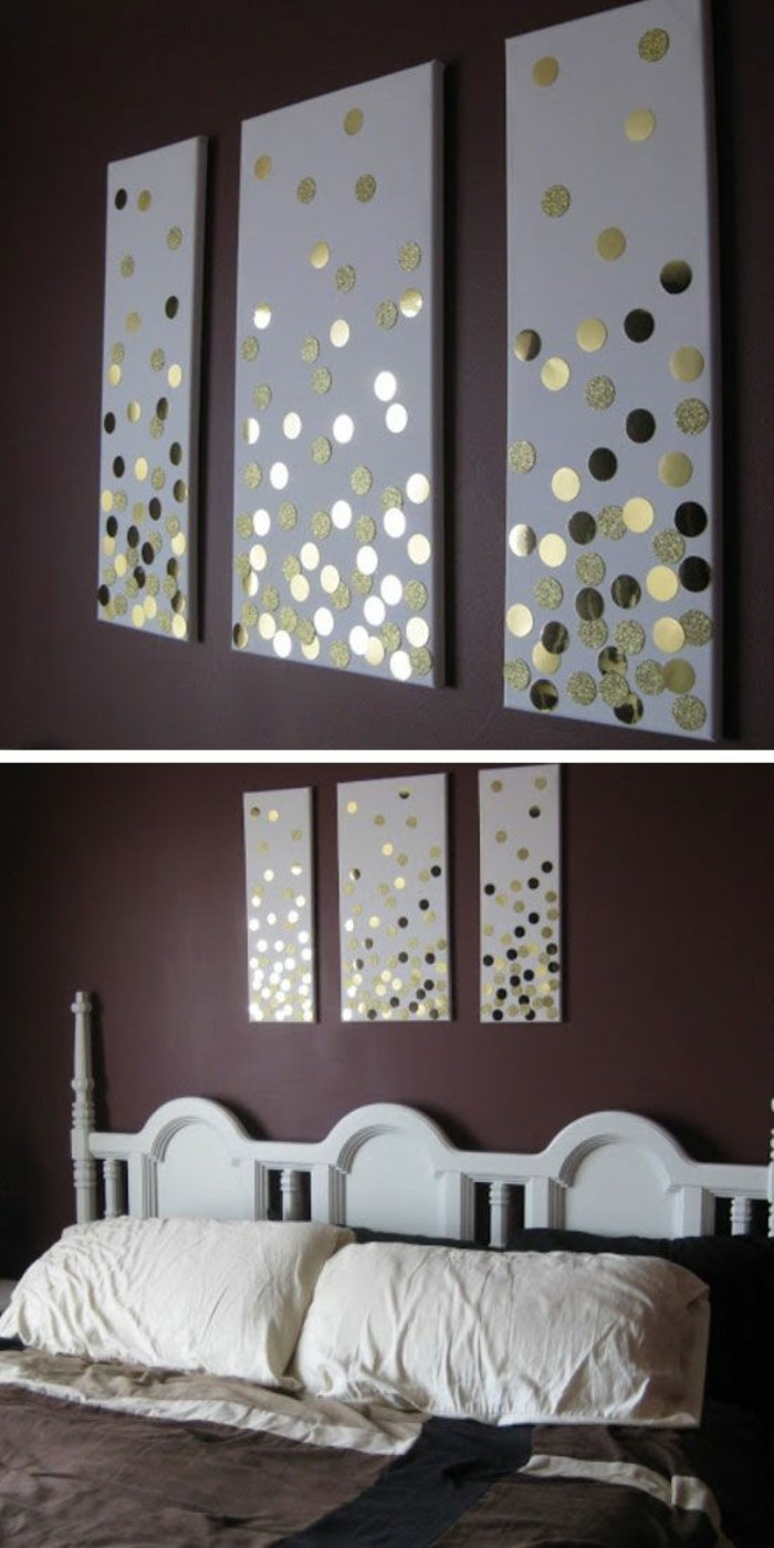 three separate white canvases, gold sequins scattered on them, wall art ideas for living room, over a bed