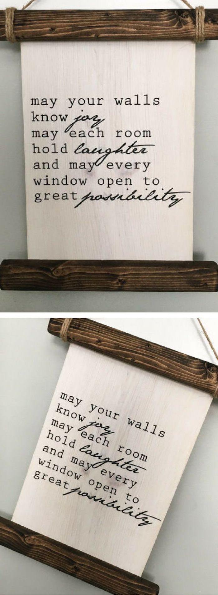 wooden board, good wishes, written on it, personalized housewarming gifts