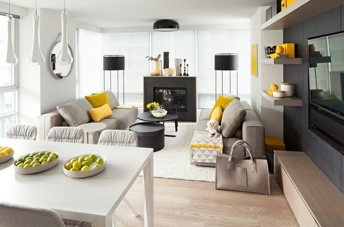 grey sofas, black metal coffee tables, gray and white living room, yellow throw pillows, wooden floor