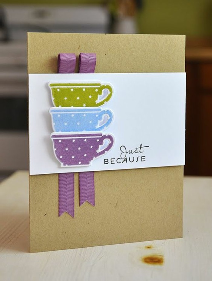 green blue and purple mugs, purple ribbon, birthday card ideas for dad, just because greeting card