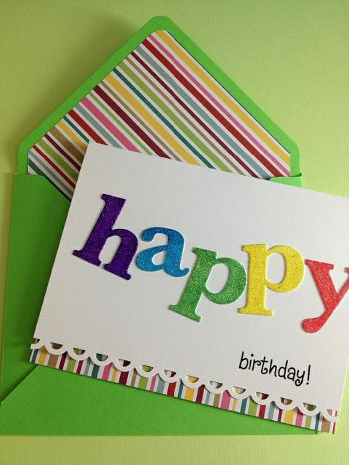 green envelope, glittery letters, green background, birthday card ideas for dad, white card stock