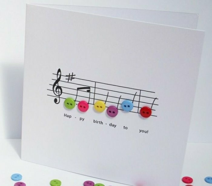 happy birthday to you, musical themed greeting card, birthday card ideas for dad, colourful buttons
