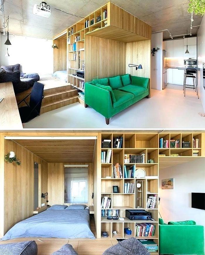 green velvet sofa, wooden bookshelves, living room furniture for small spaces, grey ottomans, white floor
